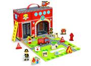 wooden toy fire station playset