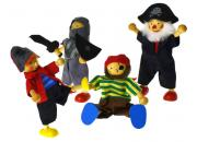 wooden toy pirate dolls four