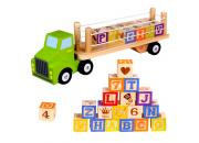 wooden toy truck alphabet blocks