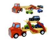 wooden toy truck car carrier