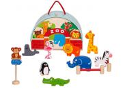 wooden toy zoo playset