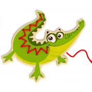 Wooden Lacing Threading Crocodile