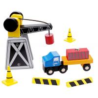 Mini Wooden Crane and Truck Set
