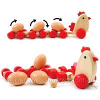 Pull Along Wooden Chicken & Eggs