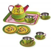 Tin Tea Set Flower Pattern