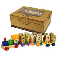 Wooden Toy Alphabet Block Train