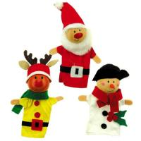 Wooden Christmas Finger Puppet Set