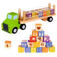 Wooden Toy Truck with Alphabet Blocks