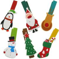 Wooden Christmas Pegs Six